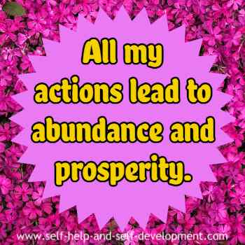 Self talk for all actions leading to abundance and prosperity.