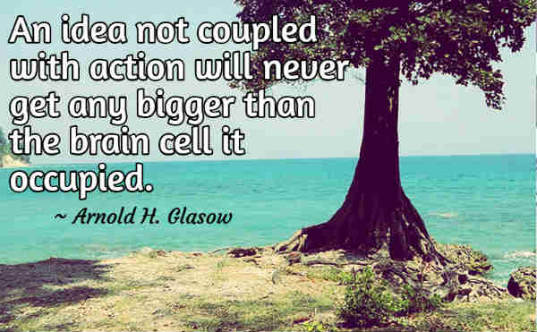 An idea not coupled with action will never get any bigger than the brain cell it occupied. ~ Arnold Glasow