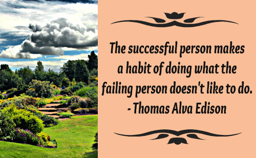 The successful person makes a habit of doing what the failing person doesn't like to do. ~ Thomas Alva Edison