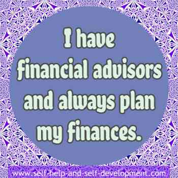 Self-talk for having financial advisers and planning finances.