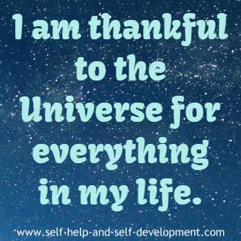 Expression of gratitude to the Universe for everything in life.