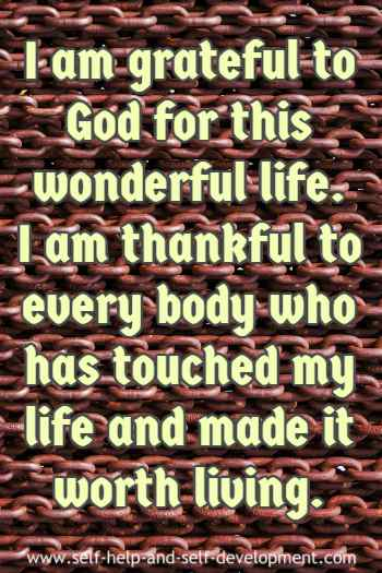 Self talk for expressing gratitude to God and thankfulness to all.