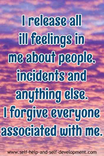 Self-talk for forgiving everyone associated with me.
