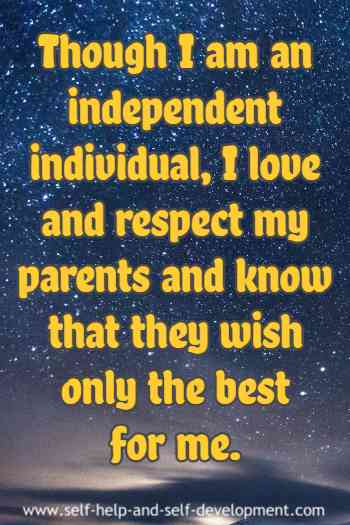 Self talk for love and respect for parents.