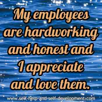 Self talk for employees being hardworking and honest and for appreciating and loving them.