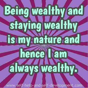 Self talk for being wealthy as a natural phenomenon.