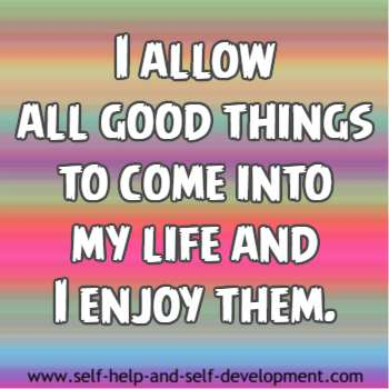 Self-talk for allowing good things to come into life.