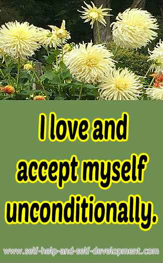 Self talk for loving and accepting oneself unconditionally.