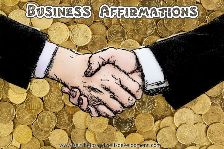 Image of shaking hands against the backdrop of gold coins, for Business Affirmations.