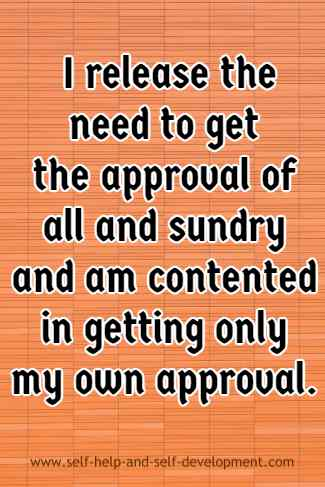 Self-talk for relying only on self-approval.