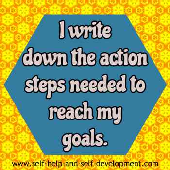Self-talk for writing down the action plan needed to reach the goals.