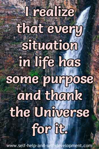 Expression of gratitude to the Universe for every life situation.