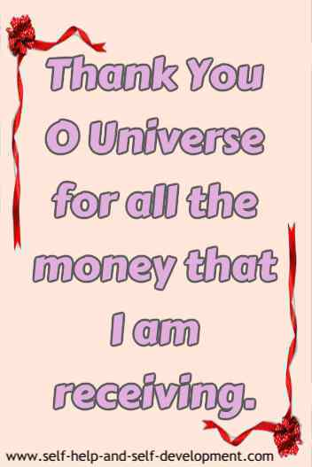 Statement of thankfulness to the Universe for money being received.