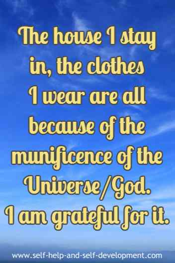 Expression of gratitude to the Universe/God for my house and clothes.