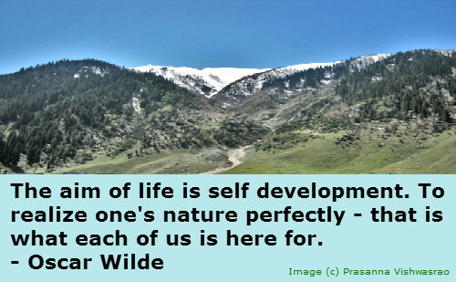 Oscar Wilde's quote on self development.