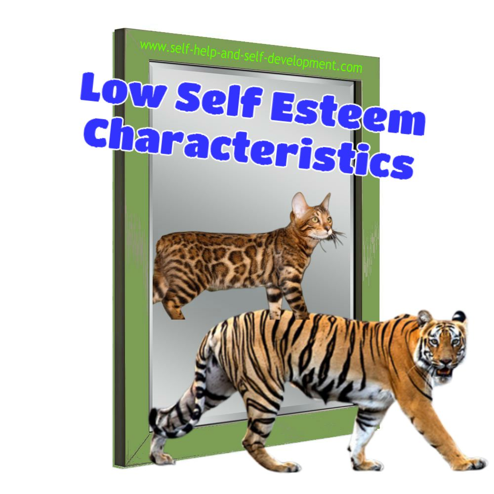 Image showing that with low self esteem, even a tiger sees itself as a cat.