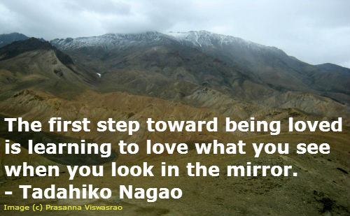 Self Esteem Quote: The first step toward being loved...