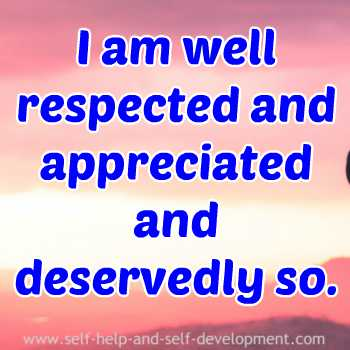 Self talk for well deserved respect and appreciation.